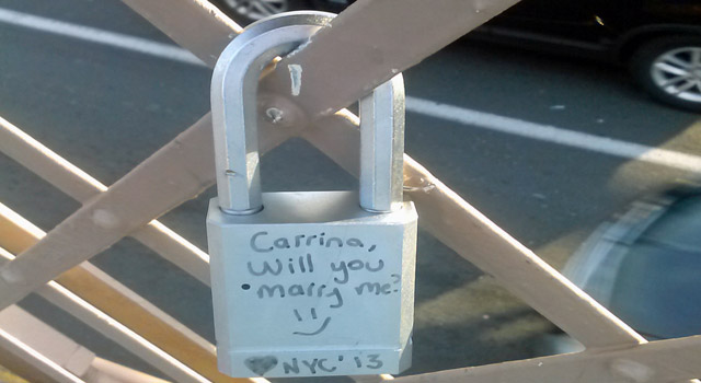 love lock on railing