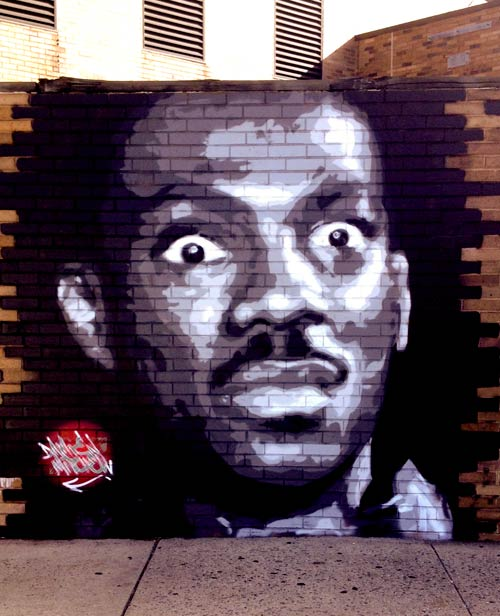 mural portrait of Eddie Murphy