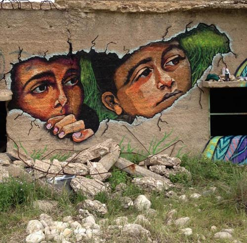 artwork of children peering through wall