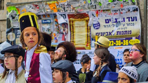Jewish boys in costumes