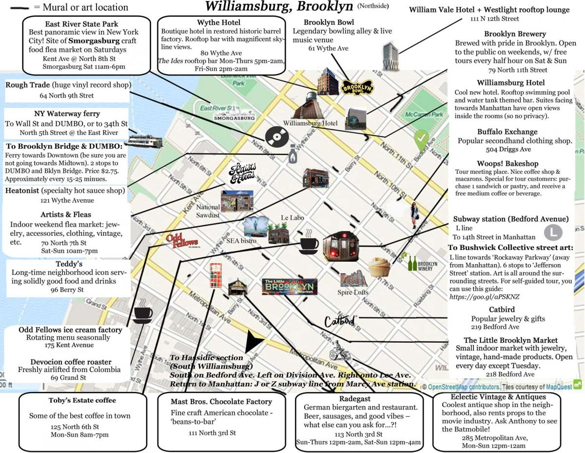 Williamsburg Visitor Map Tourist Recommendations Brooklyn