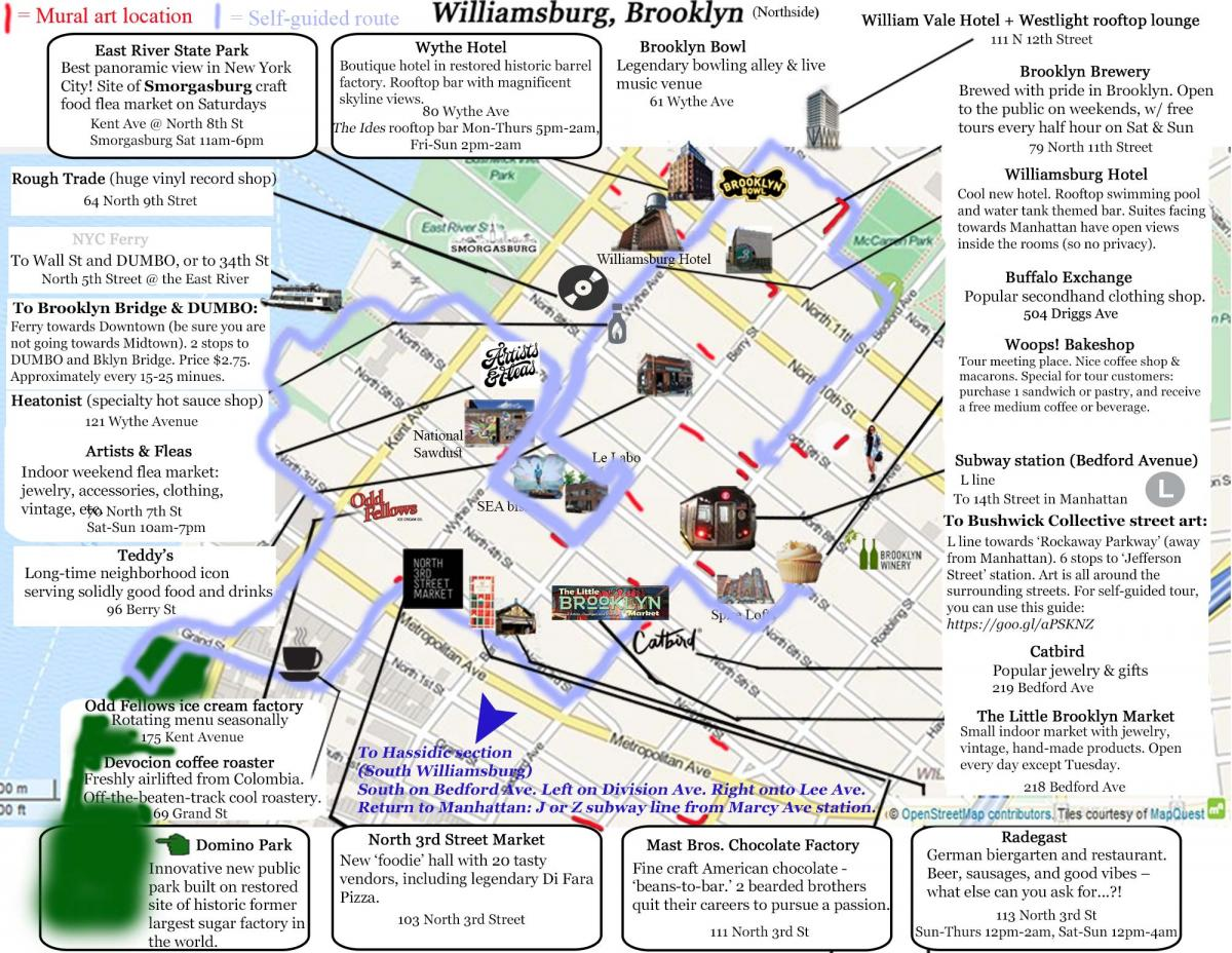 Williamsburg Visitor Map & Self Guided Tour - Brooklyn